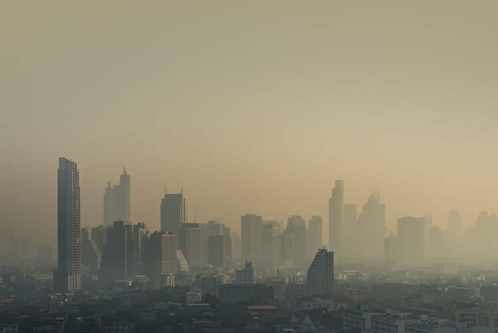 Bangkok city is covered with heavy smog.